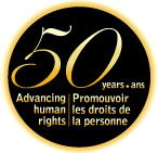 50th Anniversary logo: 50 years advancing human rights